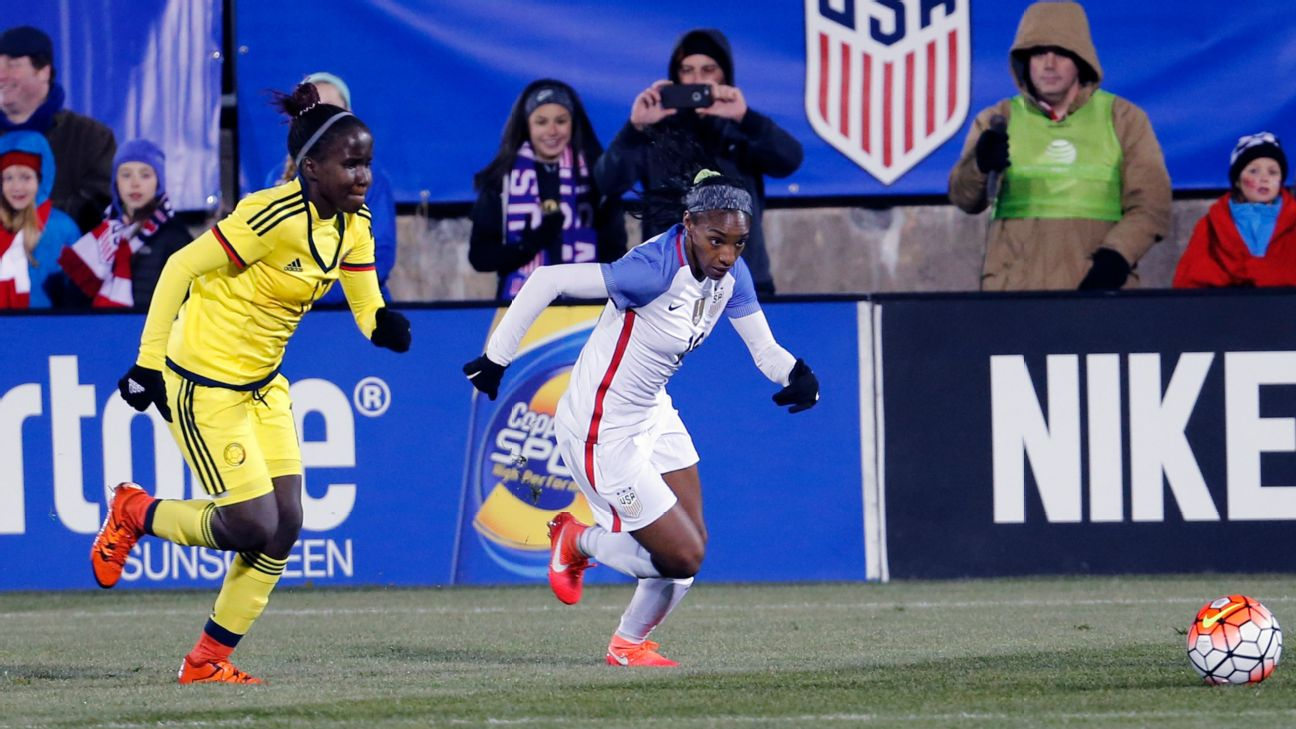 Leidy Asprilla in action for Colombia against the United States women's national soccer team.