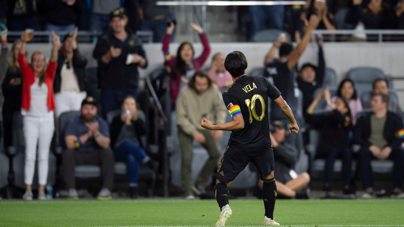 MLS goals leader Carlos Vela celebrates after scoring for LAFC against the Montreal Impact.