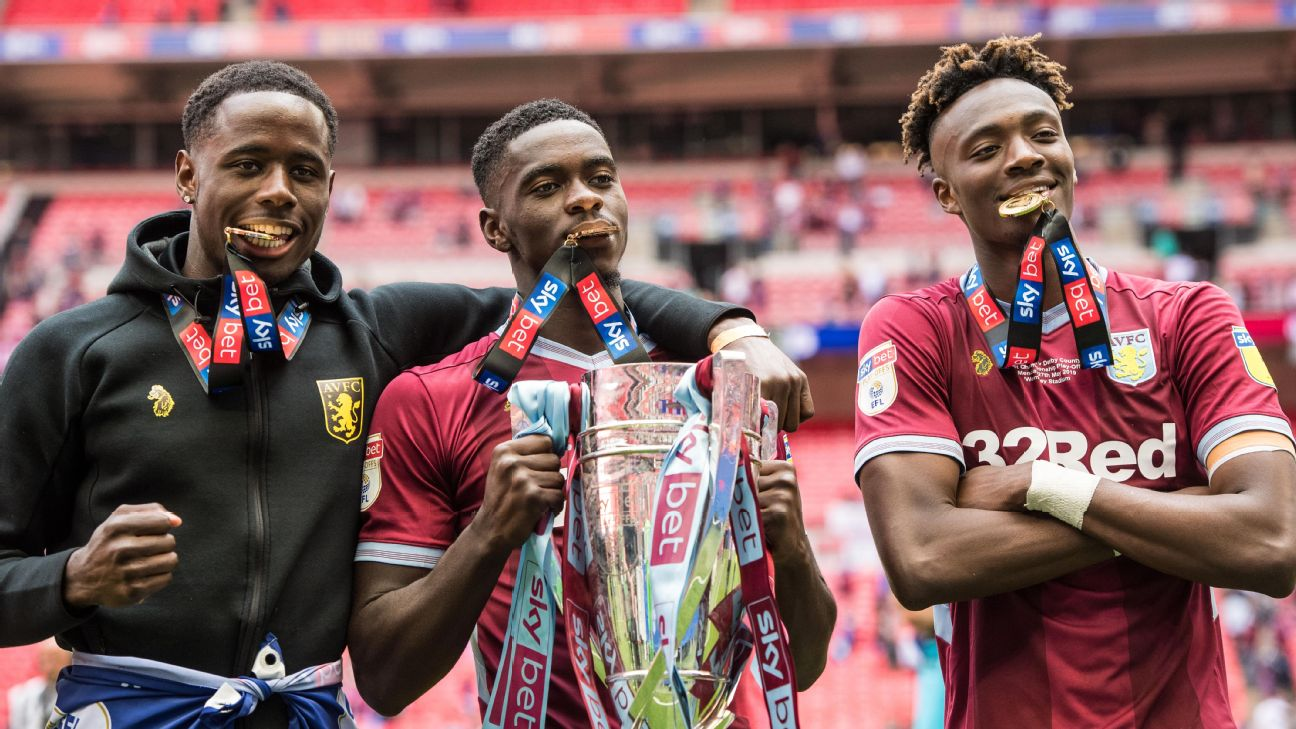Axel Tuanzebe, Albert Adomah, Tammy Abraham (left to right) celebrate Asron Villa's victory vs. Derby County in the EFL Championship Playoff Final. No Championship side has leaned as heavily on African talent this season as Villa.