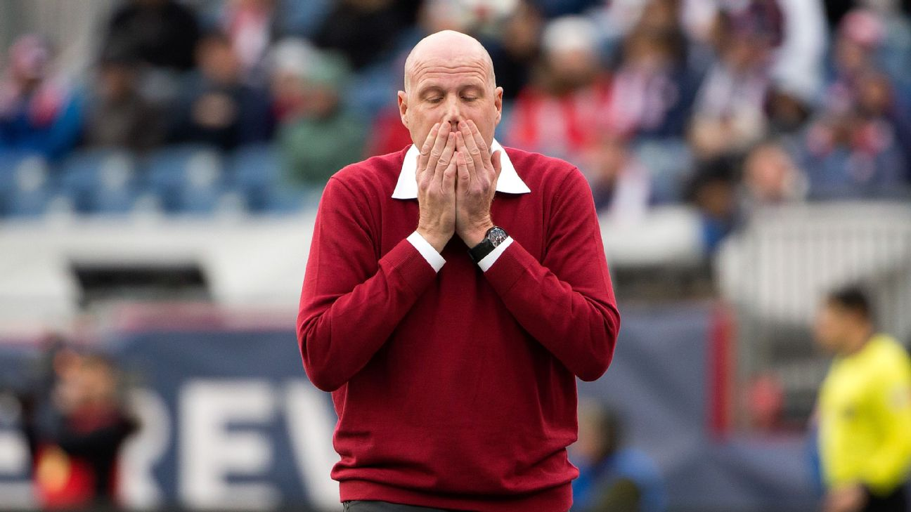 Brad Friedel reacts during the New England Revolution's MLS match against FC Cincinnati.