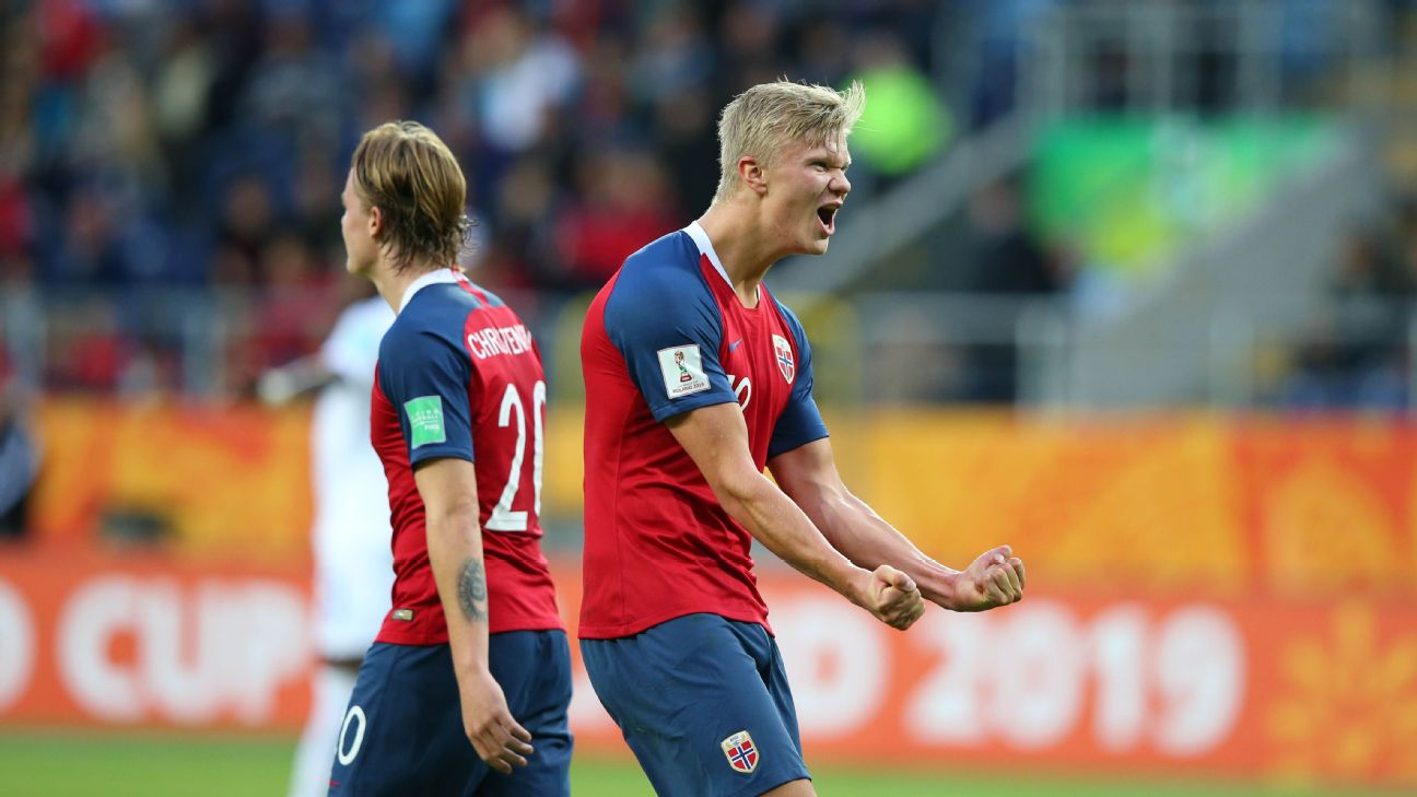 Erling Haland of Norway celebrates after scoring one of his record nine goals against Honduras at the U20 World Cup.