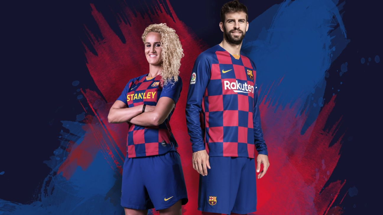 Players from Barcelona's men's and women's football clubs model the teams new look kit.