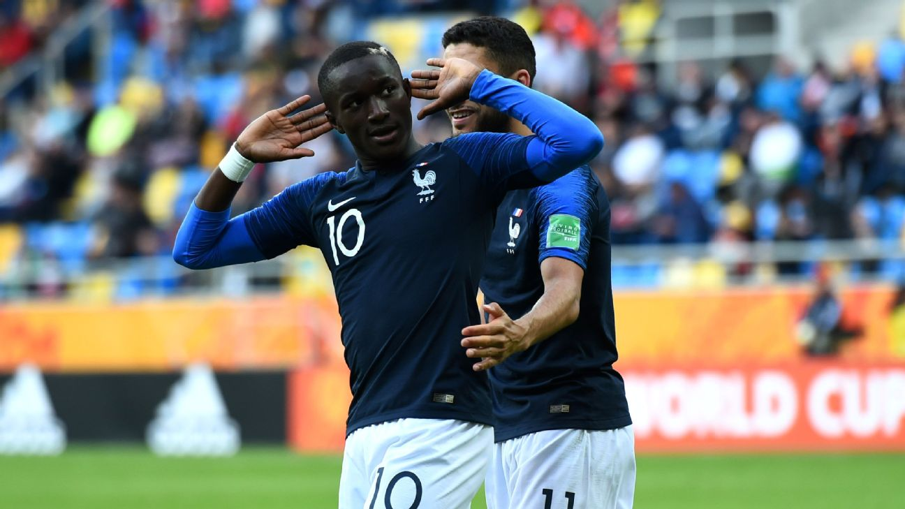 Moussa Diaby celebrates during France's Group E match against Mali at the U20 World Cup.