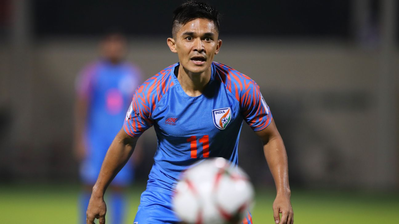 Sunil Chhetri in action during India's Asian Cup group match against Bahrain in January 2019.