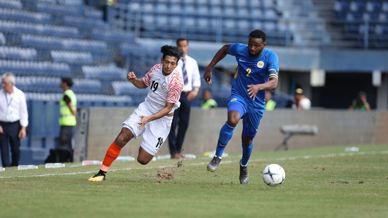 India's Sahal Abdul Samad and Curacao's Cuco Martina compete for the ball in their match in the 2019 King's Cup