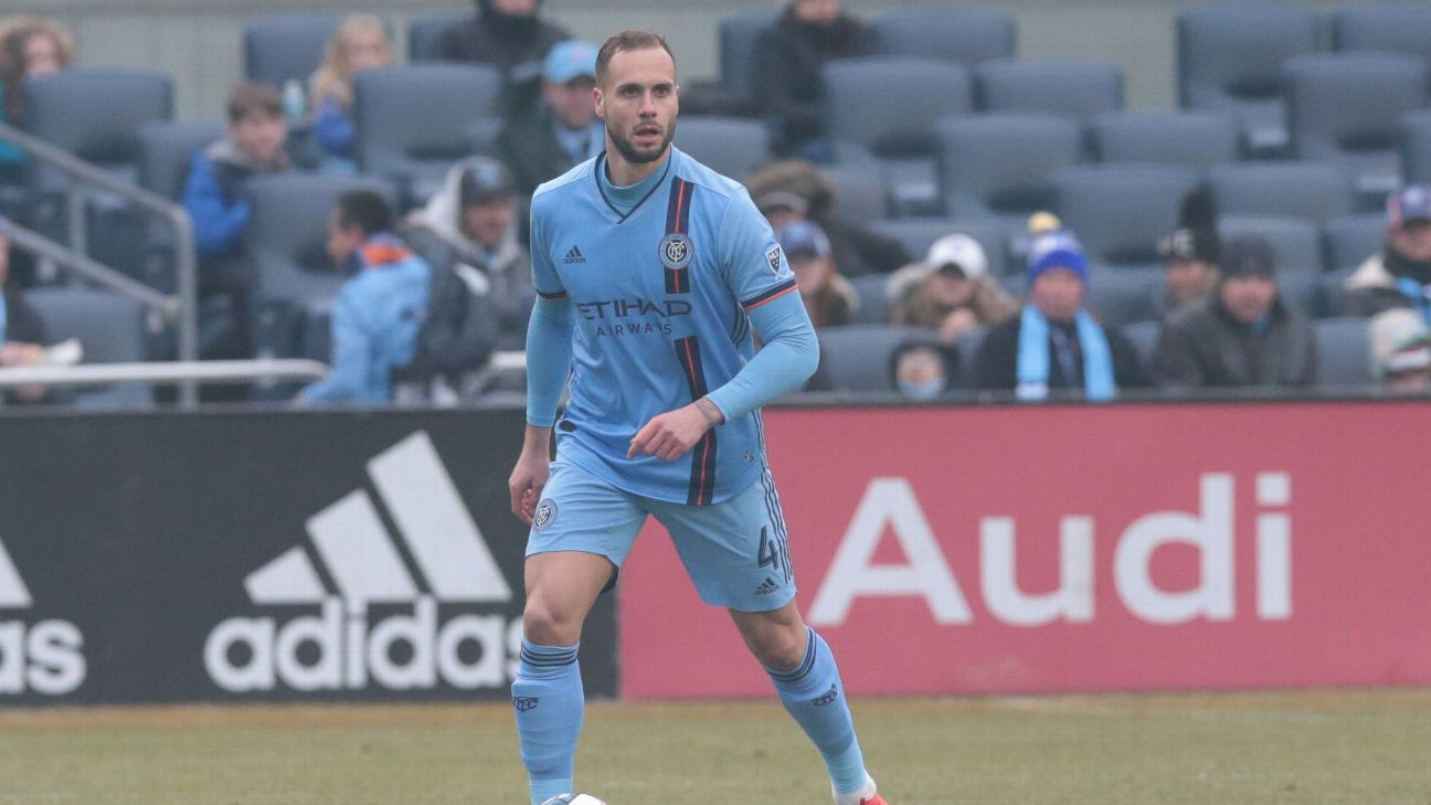 Maxime Chanot controls the ball during New York City FC's MLS match against D.C. United.