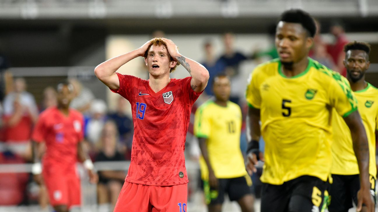 U.S. forward Josh Sargent reacts after missing a shot against Jamaica in a friendly.