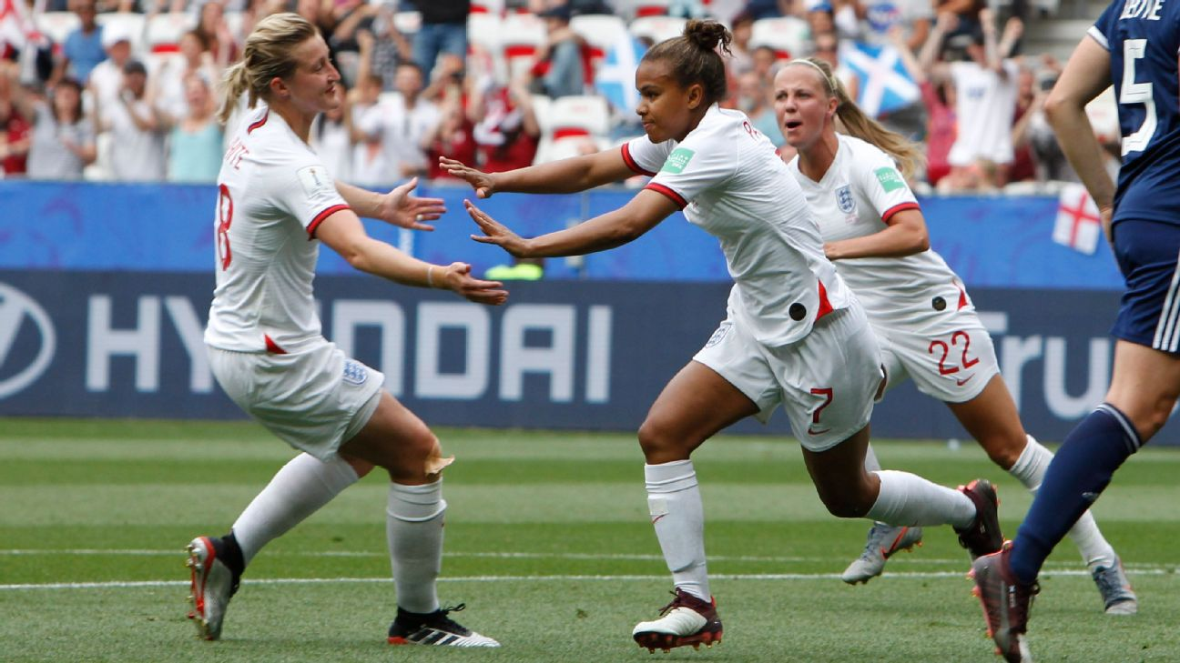Nikita Parris scored on a penalty kick in the 40th minute to help England open its World Cup with a 2-1 win over Scotland.