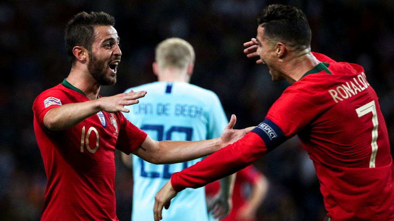 Bernardo Silva and Cristiano Ronaldo of Portugal after the UEFA Nations League Final
