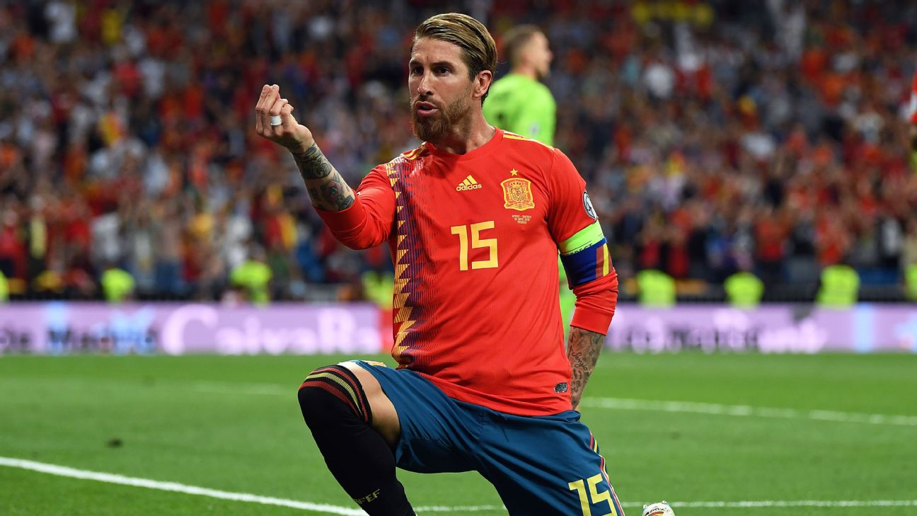 Sergio Ramos is one appearance away from joining Iker Casillas as Spain's most capped player.