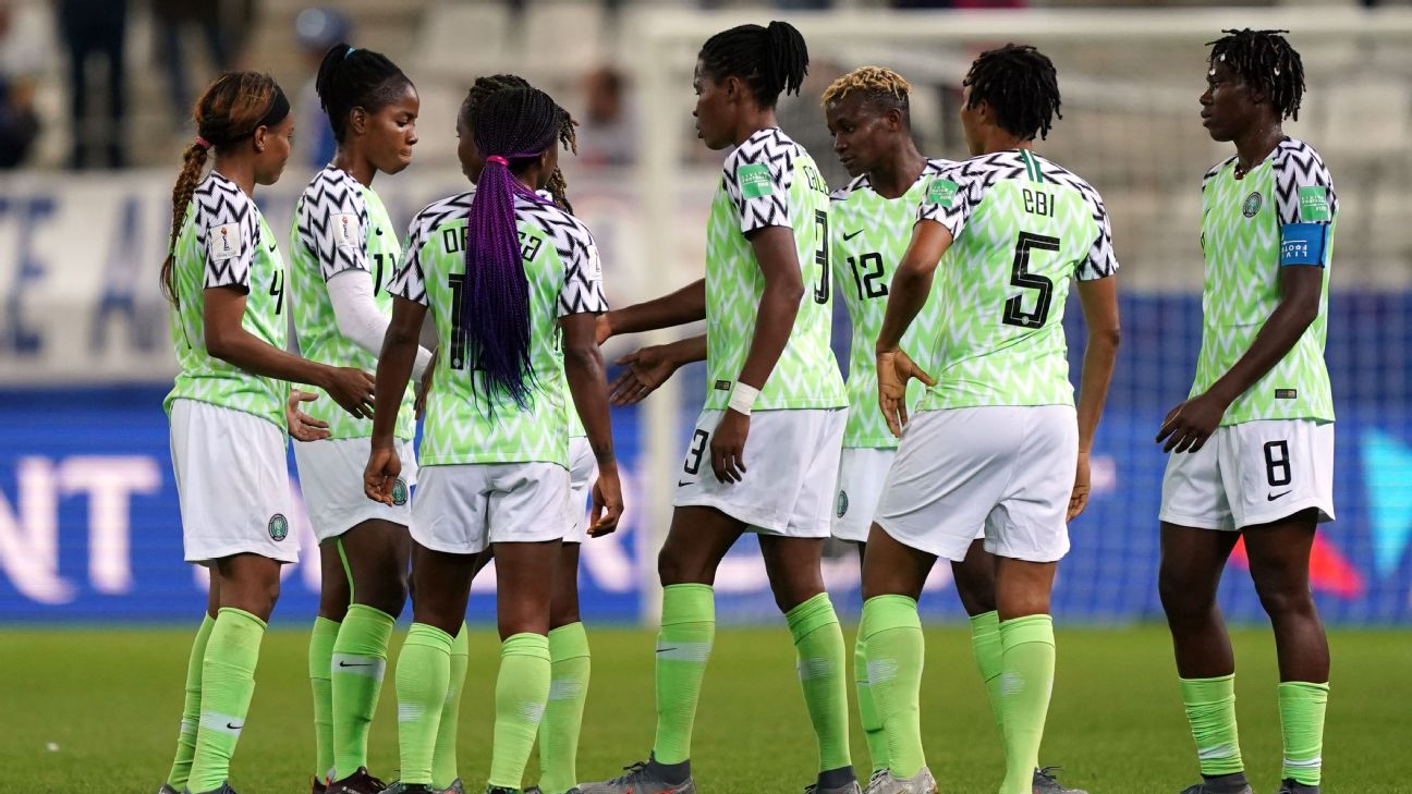 Nigerian players react at the end of the 2019 Women's World Cup Group A football match between Norway and Nigeria