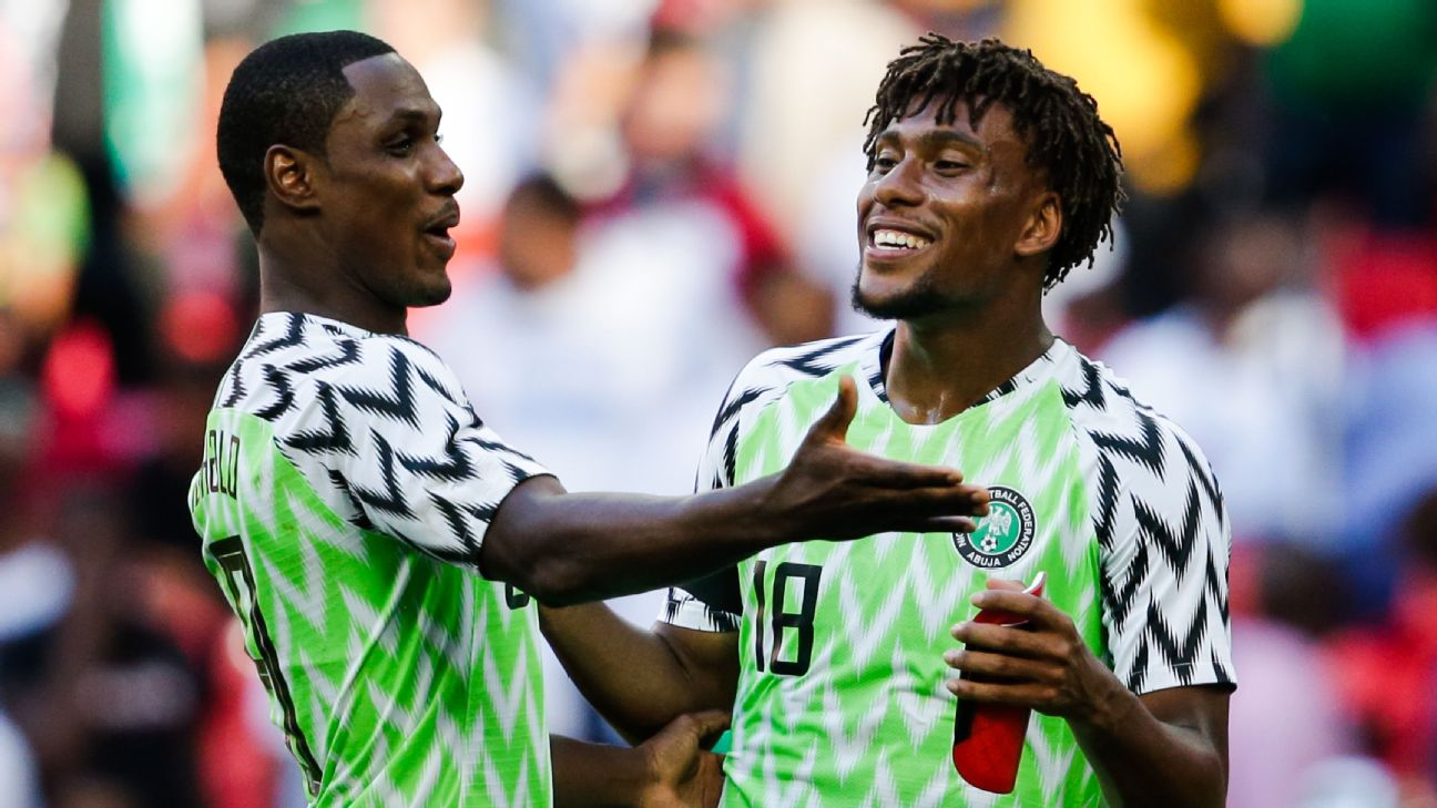 Odion Ighalo (L) and Alex Iwobi form part of the Nigeria frontline, and both will be eager to rack up the goals on the way to an Afcon title in Egypt.