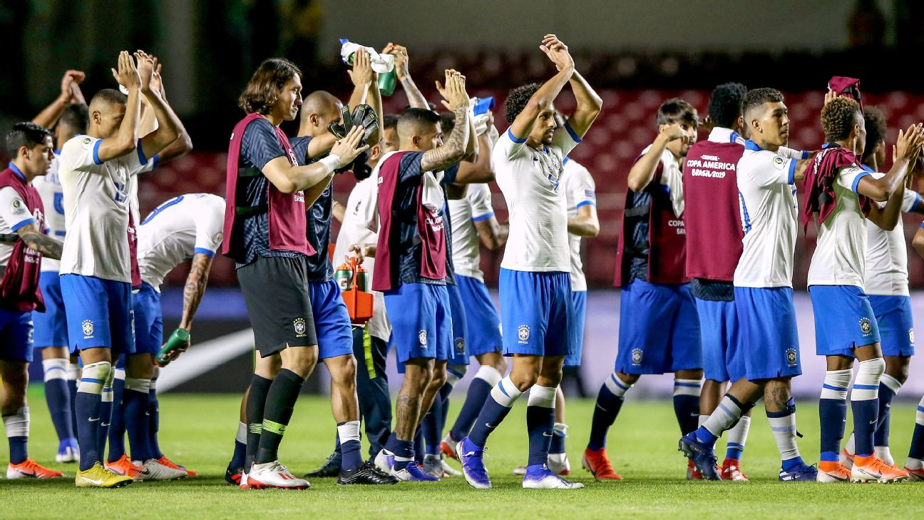 Brazil players applaud supporters after beating Bolivia in their Copa America opener.