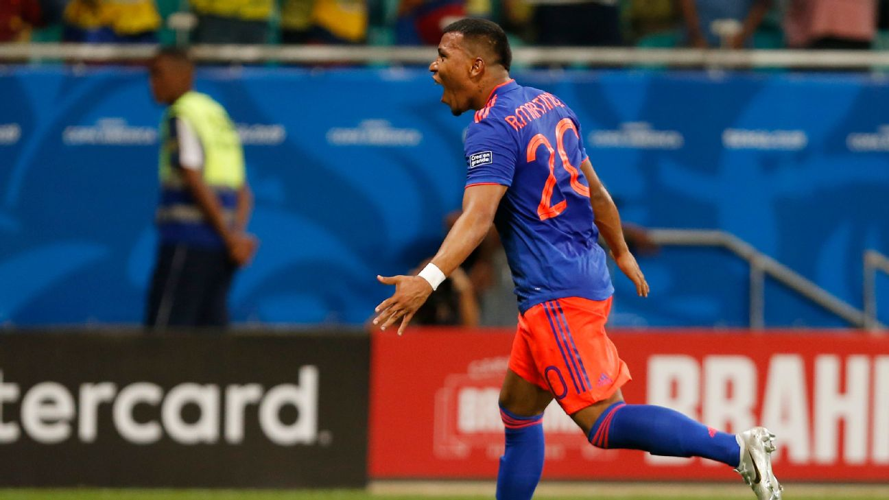 Roger Martinez celebrates after scoring in Colombia's Copa America group-stage match against Argentina.