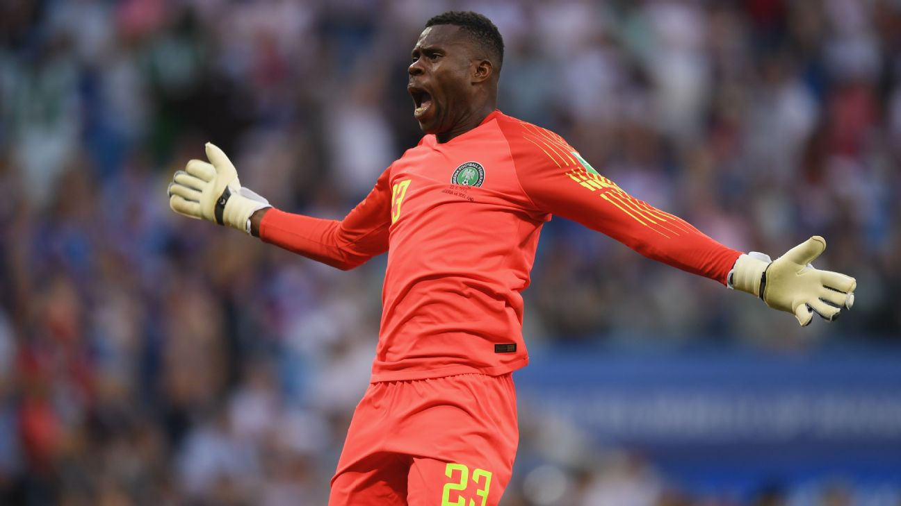Francis Uzoho was Nigeria's No. 1 goalkeeper at the 2018 FIFA World Cup in Russia, but he's been benched since making a mistake in the Super Eagles' final 2019 Afcon qualifier against Seychelles.