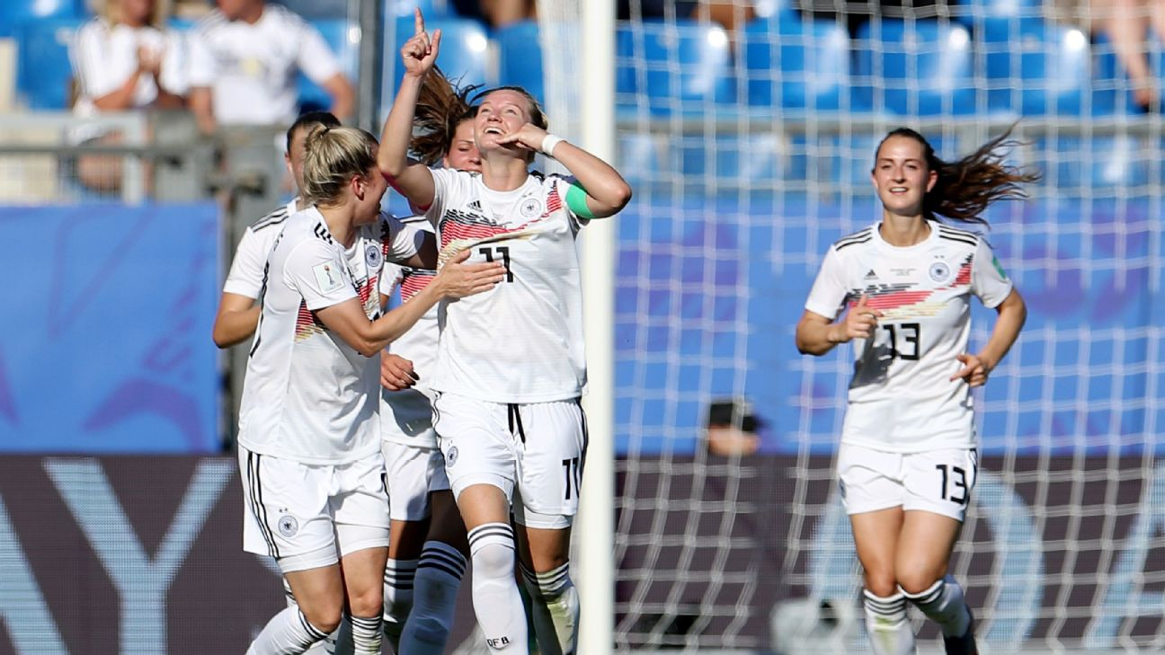 Alexandra Popp celebrates after scoring Germany's third goal in the 4-0 victory over South Africa.