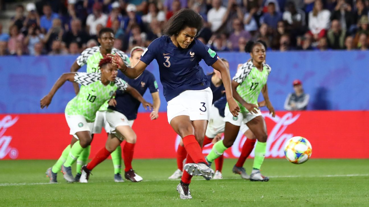 Wendie Renard scores France's lone goal on a 79th-minute penalty, awarded after a video review. Renard's first attempt hit the outside of the post.