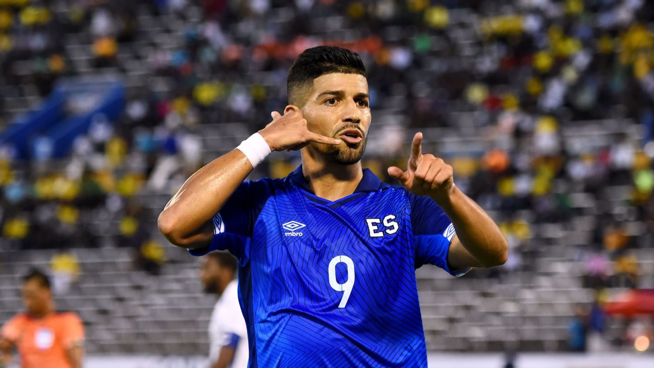 El Salvador's Nelson Bonilla celebrates after scoring a goal against Curacao in the 2019 Gold Cup.