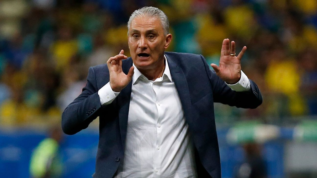 Brazil manager Tite shouts instructions to his players during his team's Copa America match against Venezuela.