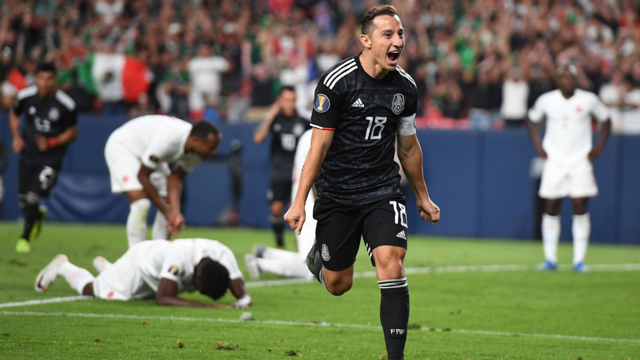 Andres Guardado celebrates after scoring a goal during the CONCACAF Gold Cup Group A match between Mexico and Canada