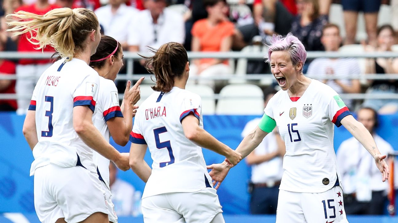 Megan Rapinoe, right, celebrates with teammates after scoring a goal for the U.S. against Spain.