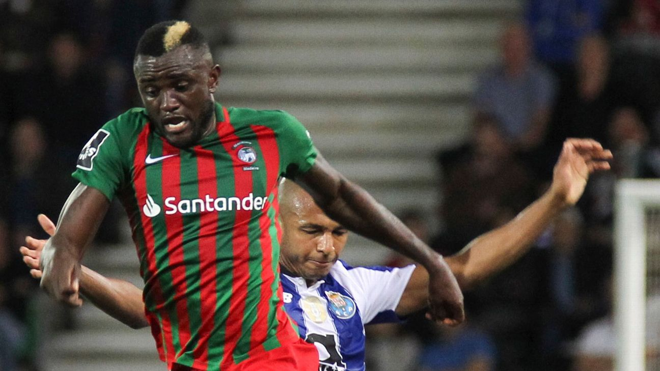 Cameroon striker Joel Tagueu, pictured playing for Poruguese club side Maritimo, has been withdrawn from the African Cup of Nations after an anomaly in his coronary artery was detected by team doctor William Ngatchou.
