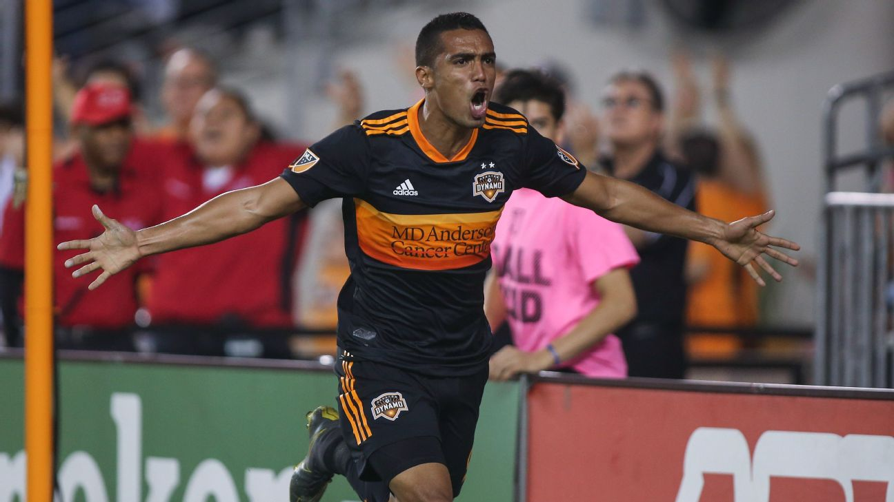 Mauro Manotas celebrates after scoring in Houston Dynamo's MLS match against Real Salt Lake.