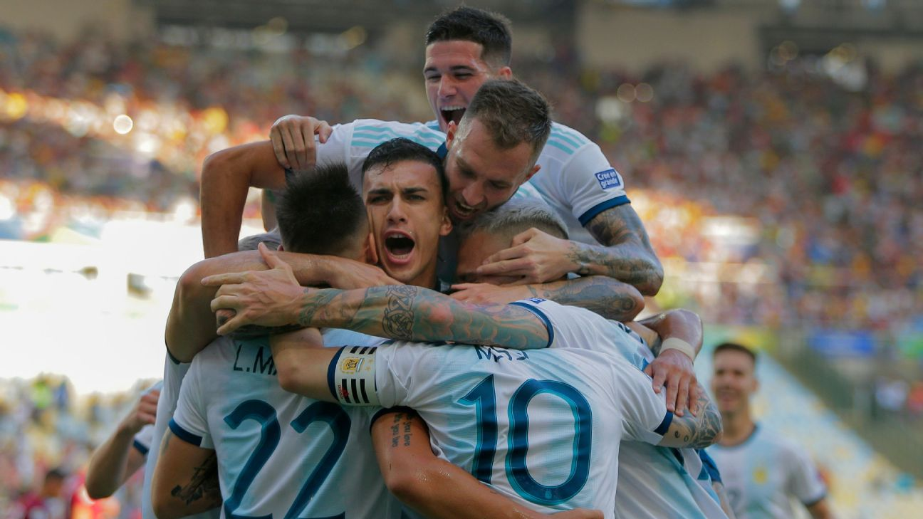 Argentina players celebrate during their Copa America quarterfinal win over Venezuela.