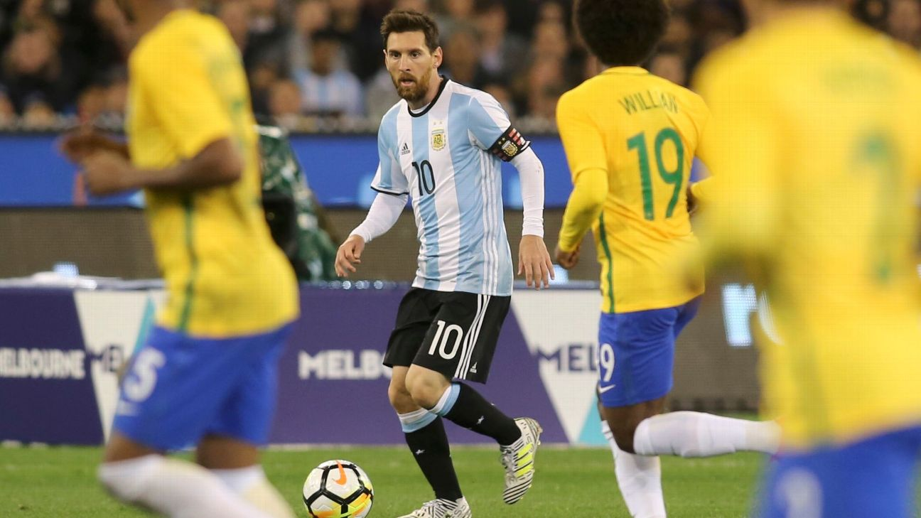 Lionel Messi controls the ball during a friendly match  between Argentina and Brazil.