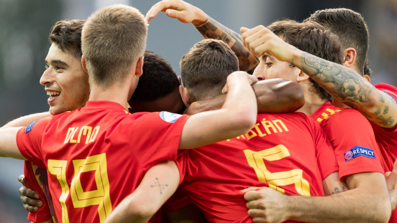 Spain's U21s celebrate during the European Under-21 Championship final against Germany.