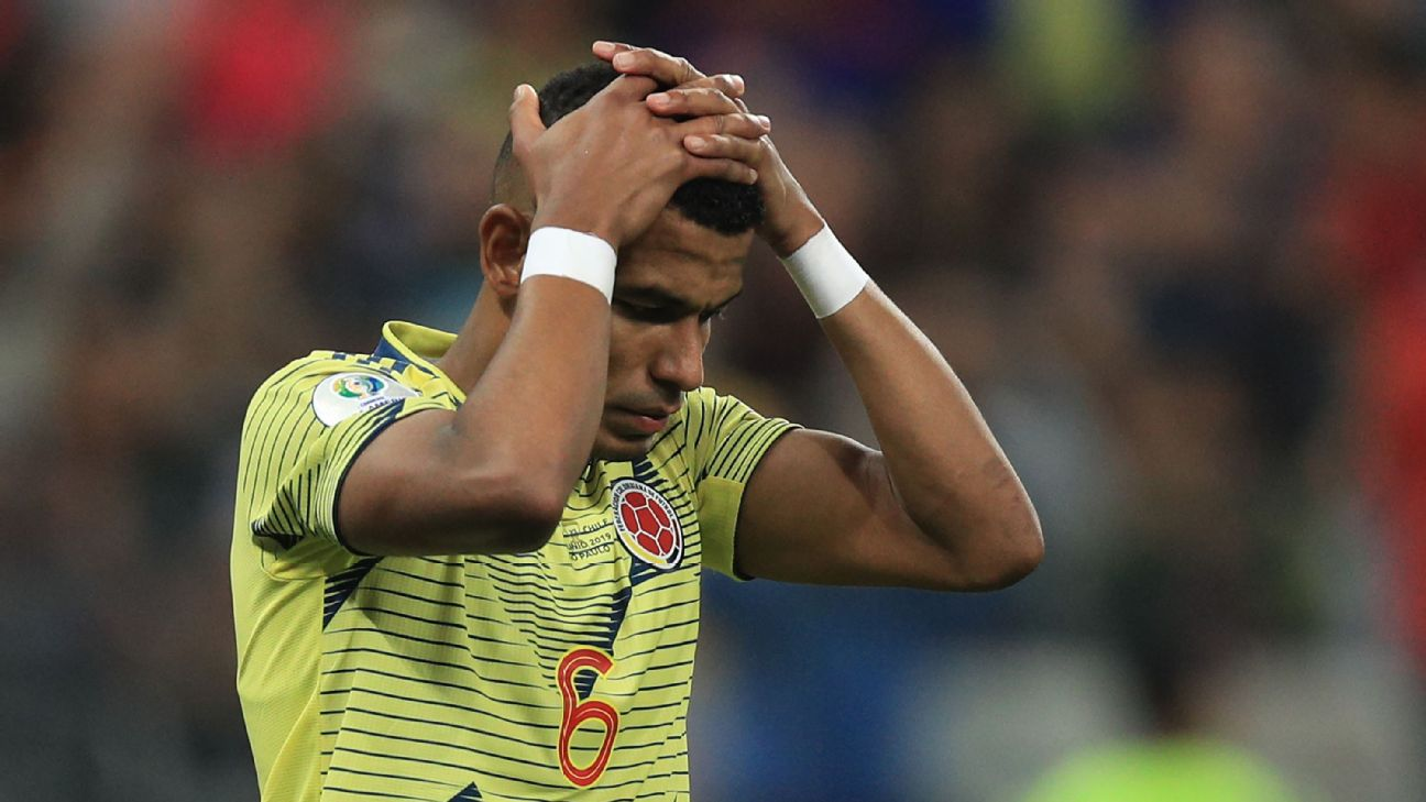 William Tesillo of Colombia reacts after missing a penalty kick against Chile at the Copa America.
