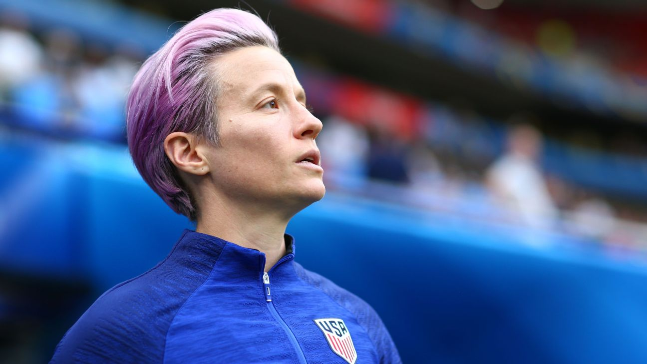 After scoring two goals in each of the past two games. U.S. star Megan Rapinoe was sidelined with what she called a minor hamstring strain.