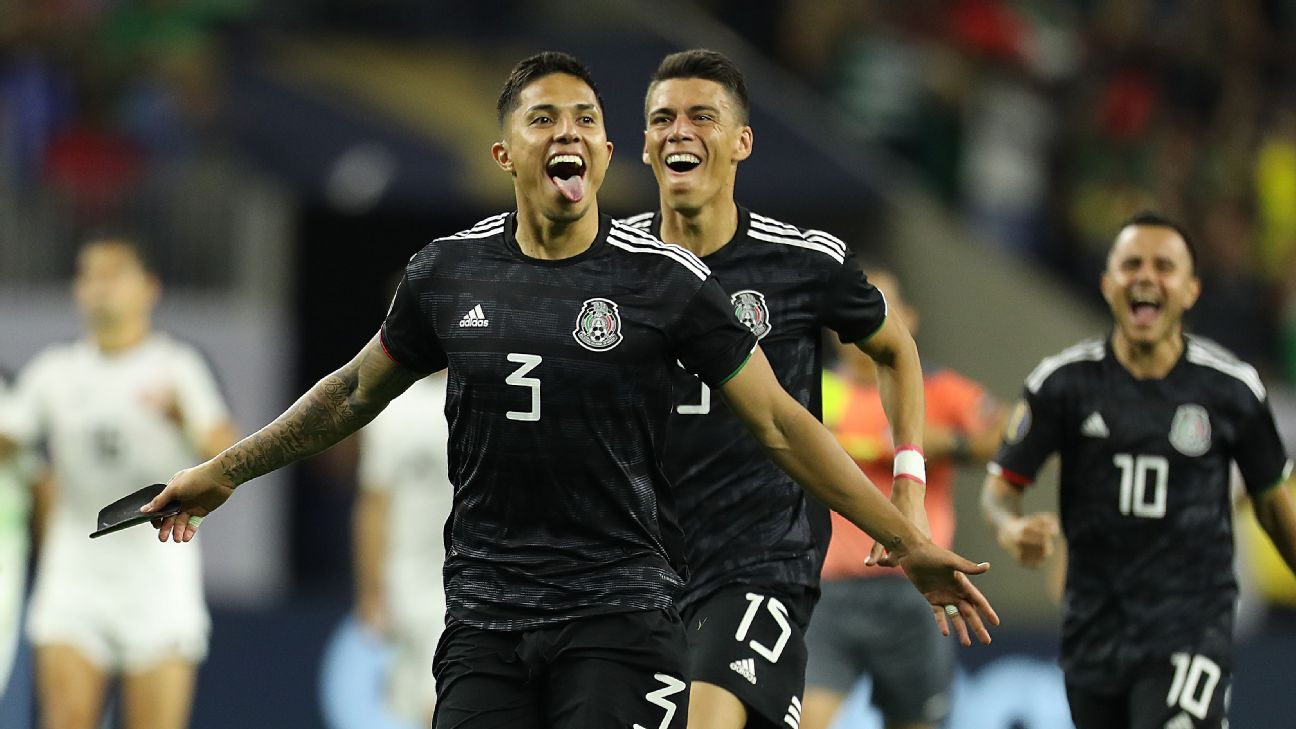 Carlos Salcedo celebrates after Mexico's win over Costa Rica in the Gold Cup.