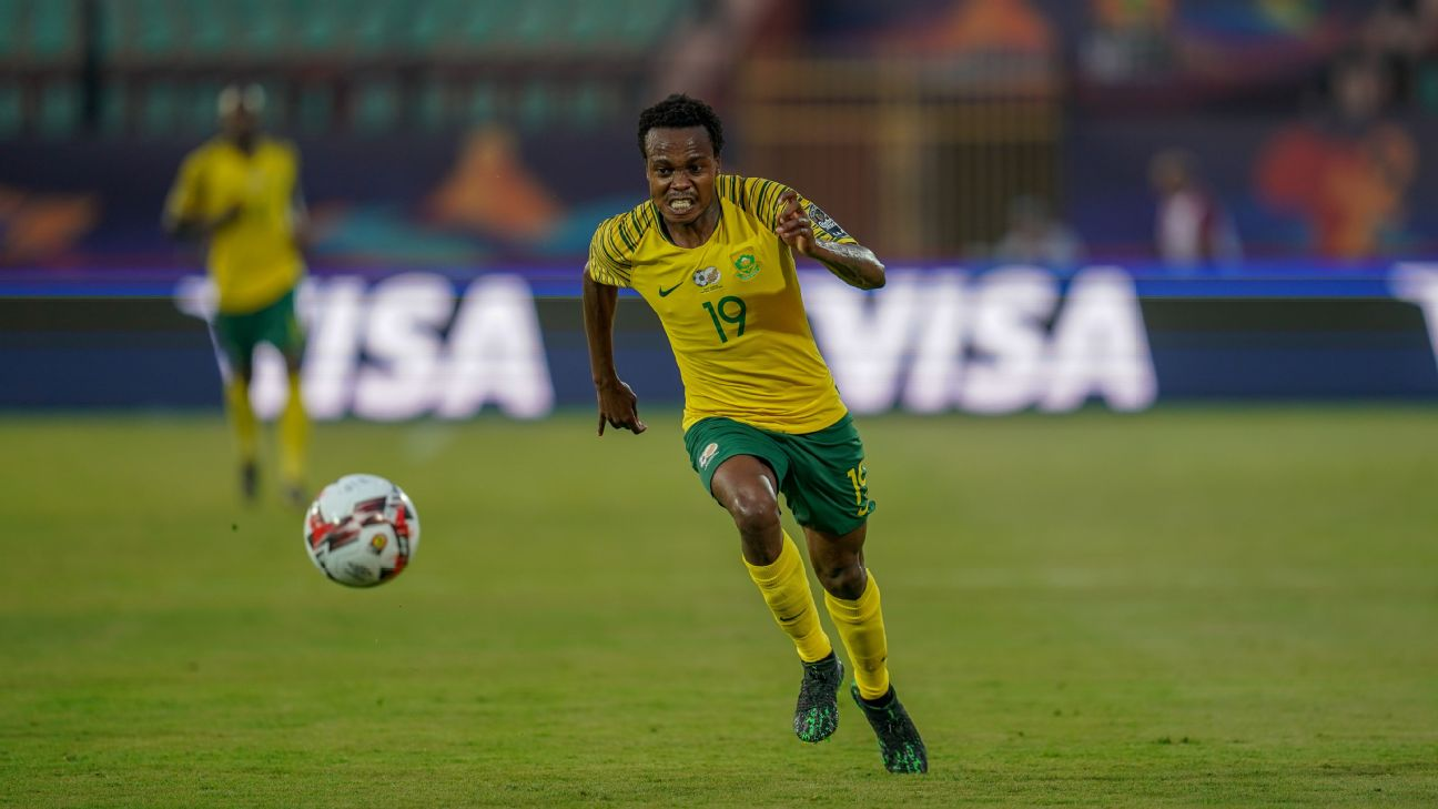 Percy Tau, one of Bafana's more creative current players, in action at the Africa Cup of Nations, where South Africa's workmanlike efforts have not endeared them to their fans.