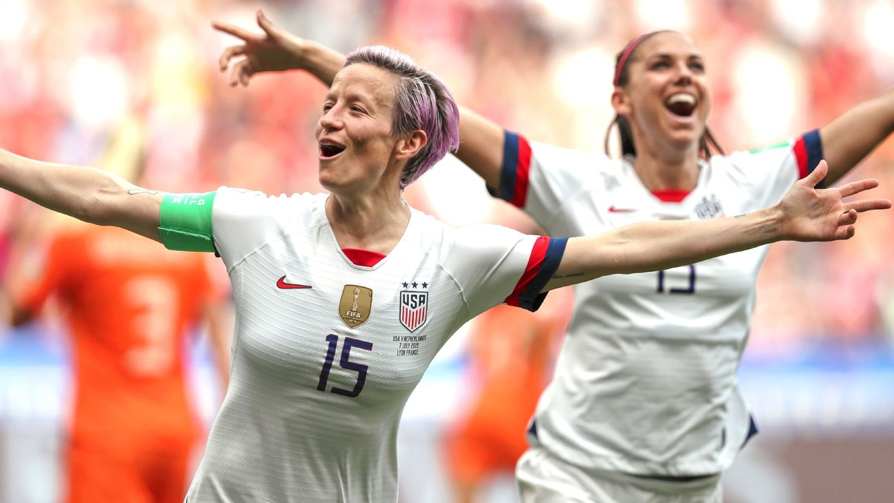 Megan Rapinoe converted on a penalty kick, her sixth goal of this year's World Cup, to lead the USWNT to a 2-0 victory against the Netherlands in Sunday's final.
