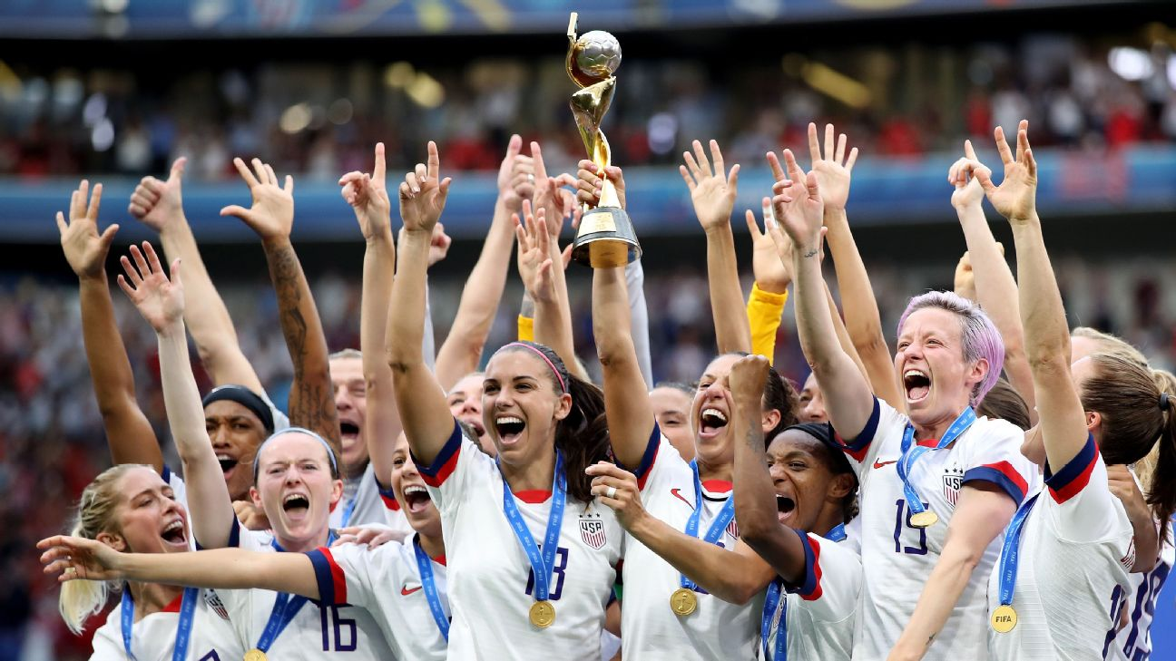 The U.S. celebrates after winning its record fourth Women's World Cup title and second in a row, beating the Netherlands 2-0.