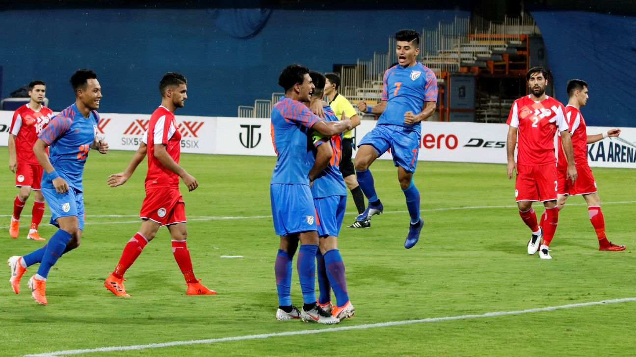 Indian players celebrate their first goal against Tajikistan at the Intercontinental Cup in Ahmedabad.