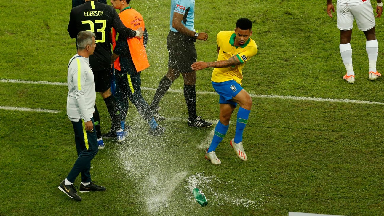 Gabriel Jesus kicks a water bottle after being sent off in Brazil's Copa America final win over Peru.