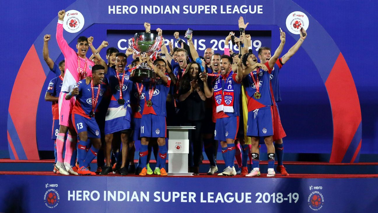Bengaluru FC players celebrate after winning the ISL in March 2019.