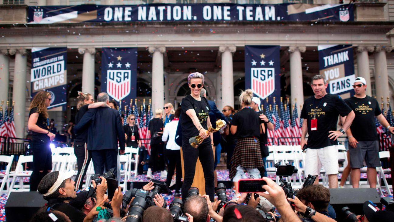 Can the NWSL capitalize on the USWNT's World Cup win? Megan Rapinoe, Alex Morgan and the U.S. women are expected to return to the women's pro league soon.
