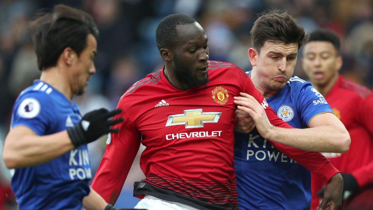 Harry Maguire, lett, could move from Leicester to Man United if the Red Devils can sell Romelu Lukaku.