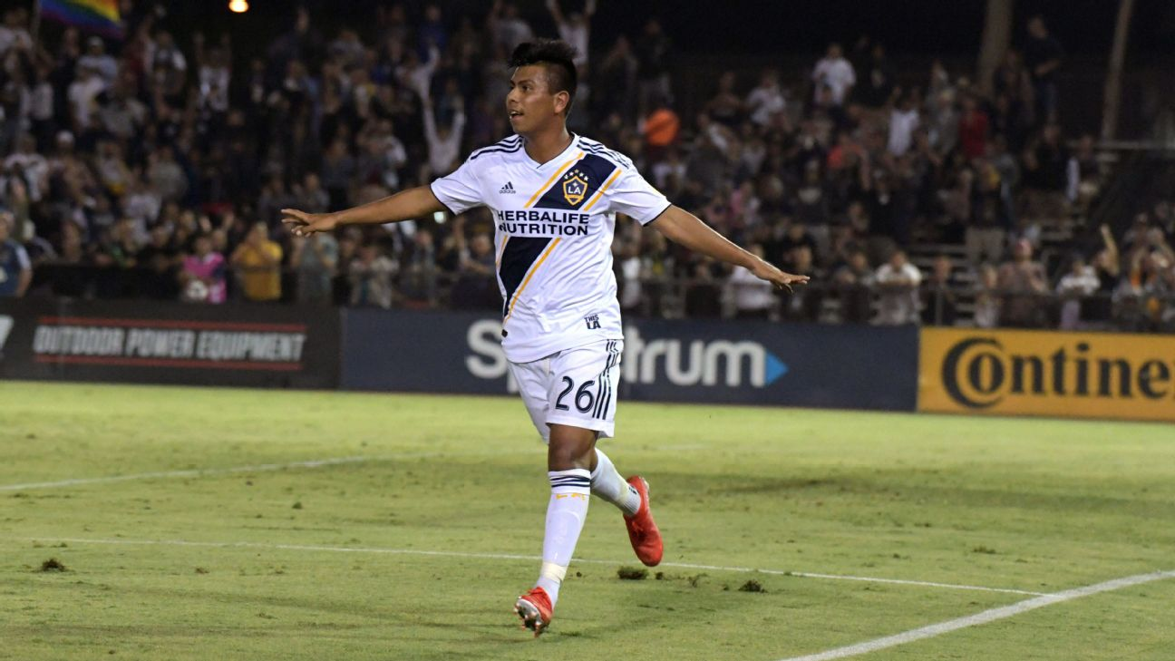 LA Galaxy midfielder Efrain Alvarez celebrates after scoring a goal against Orange County FC in the U.S. Open Cup.