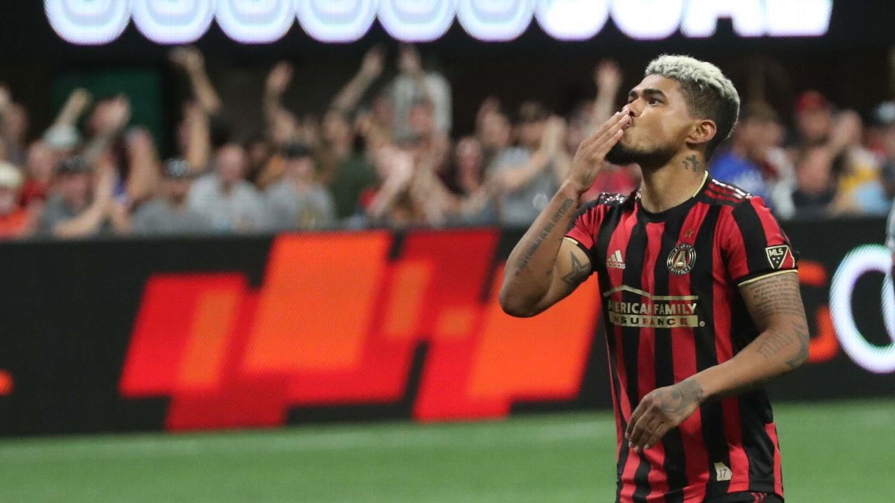 Josef Martinez celebrates after scoring in Atlanta United's MLS match against the New York Red Bulls.