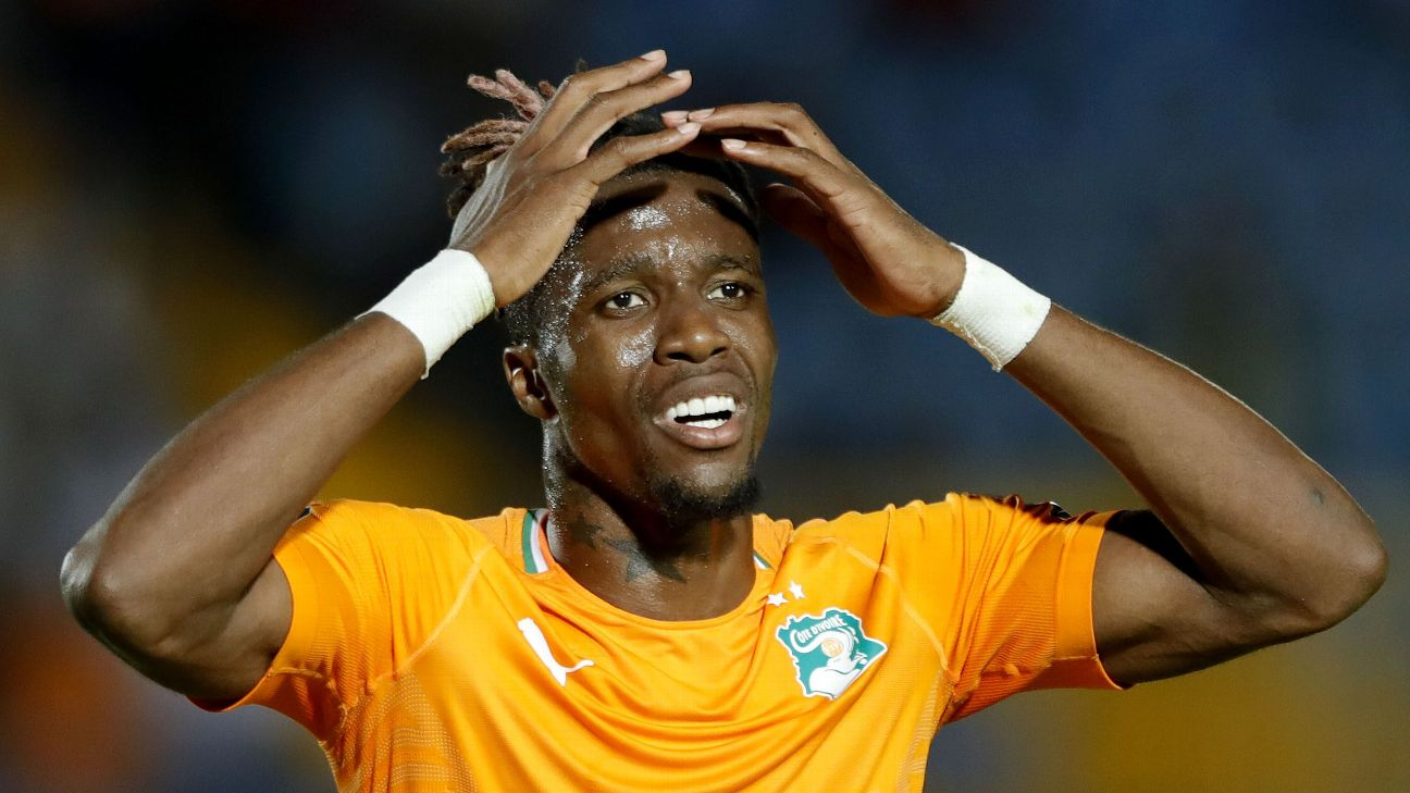 Wilfried Zaha reacts during Ivory Coasts' Africa Cup of Nations quarterfinal loss to Algeria.