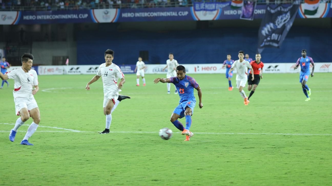 Lallianzuala Chhangte pulled a goal back for India in the second half vs North Korea.