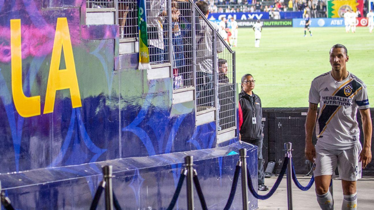 Zlatan Ibrahimovic #9 of Los Angeles Galaxy departs the field following the Los Angeles Galaxy's MLS match against San Jose Earthquakes