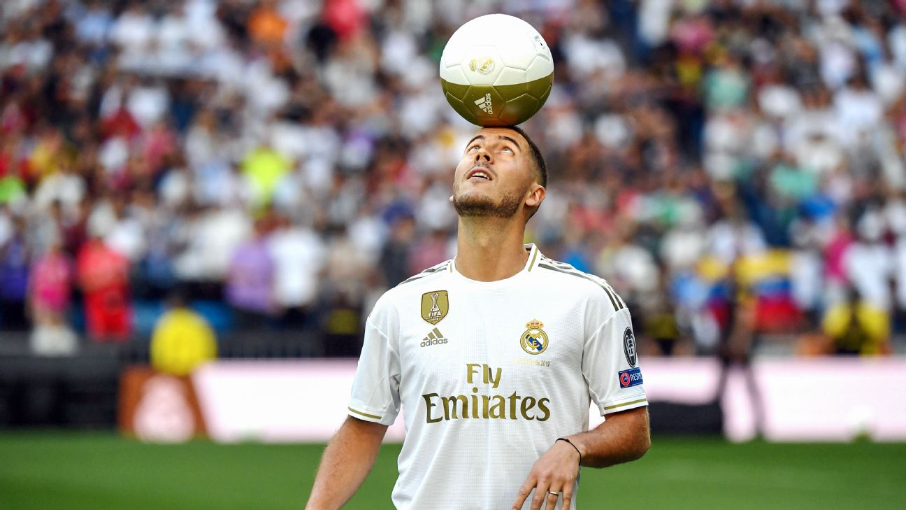 Eden Hazard was unveiled as a Real Madrid player at the Santiago Bernabeu on Thursday.