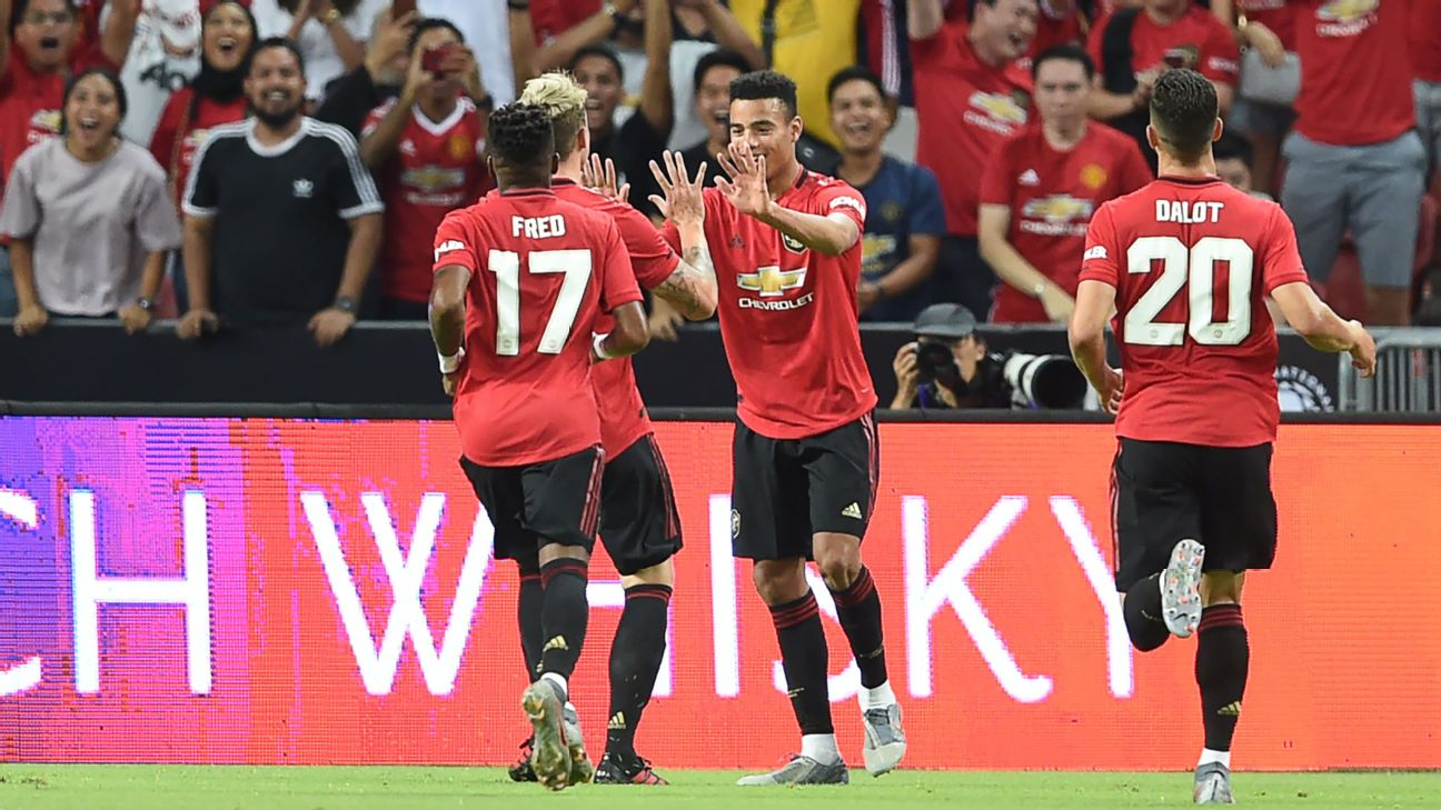Mason Greenwood (2nd R) is congratulated by teammates after scoring during the International Champions Cup football match between Manchester United and Inter Milan