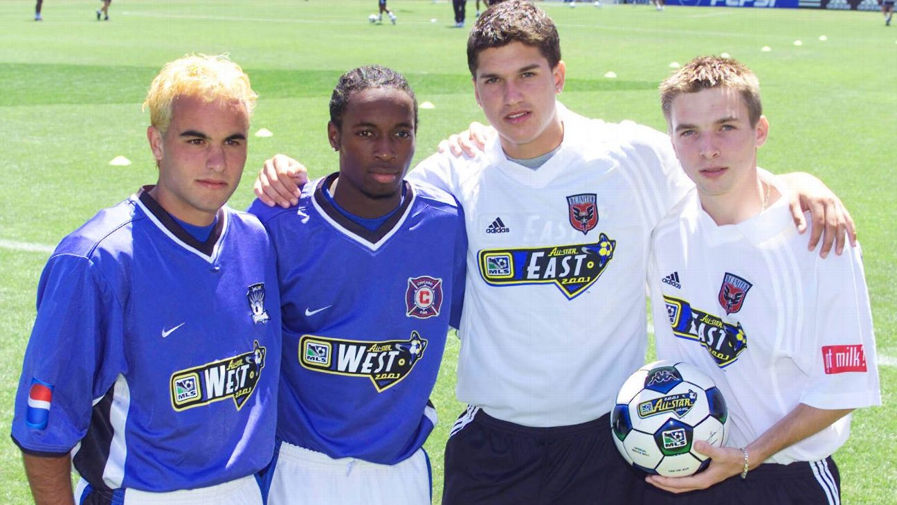 Landon Donovan, DaMarcus Beasley, Santino Quaranta and Bobby Convey pose ahead of the 2001 MLS All-Star Game.