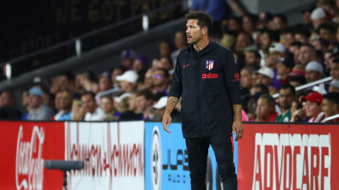 Diego Simeone looks on during Atletico Madrid's win over the MLS All-Stars.
